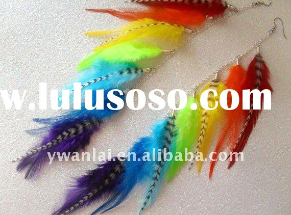 Long colorful Feather Earring  ear cuff dangle  multi chain