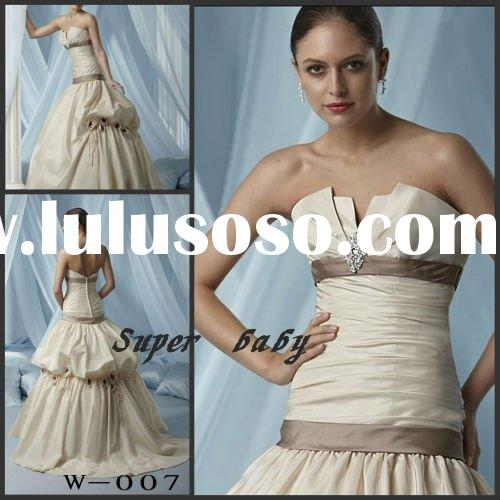 Newest design Strapless perfect taffeta W-007 Wedding dress