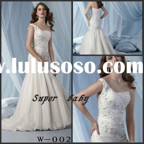 One-shoulder fabulous beading satin and organza W-002 wedding dress