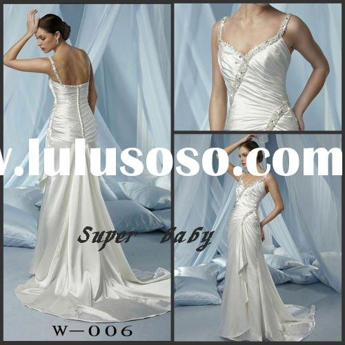 Spaghetti strap pretty W-006 Wedding dress with stretch satin