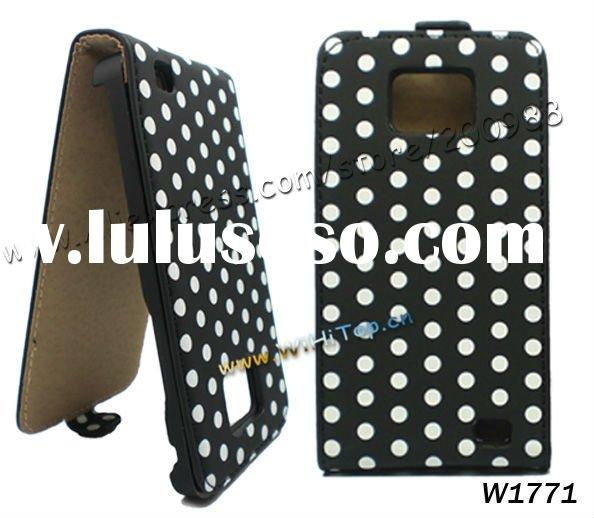 Vertical flip Leather Case Cover with Dots design for Samsung Galaxy S2 S II i9100