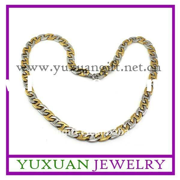 fashion gold plated stainless steel men's necklace chains