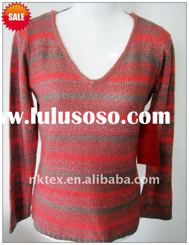 Fashion knitted long sleeves stripe sweater