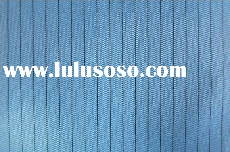 Polyester fabric with static wire