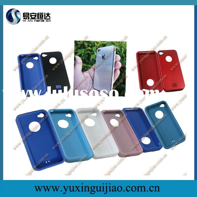 Silicone Covers For Iphone 4 with Aluminium Plate in 6 Colors