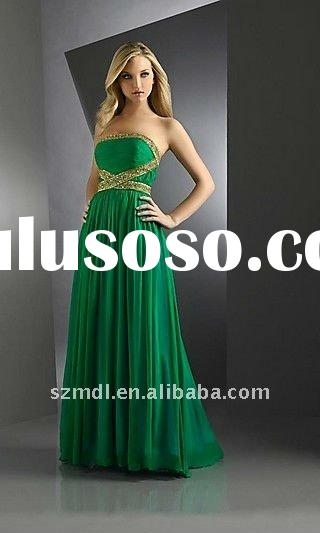 Green Golden Beaded Ruffle Off Shoulder Evening Dress