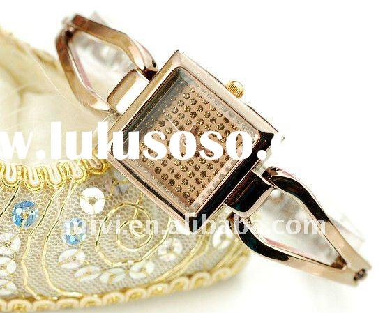 cheap plated watch with diamond  fashion ladies bracelate watch christmas gift watch quartz stainles