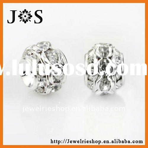 Silver Plated Brass Rondelles Encrusted Crystal Spacer Bead