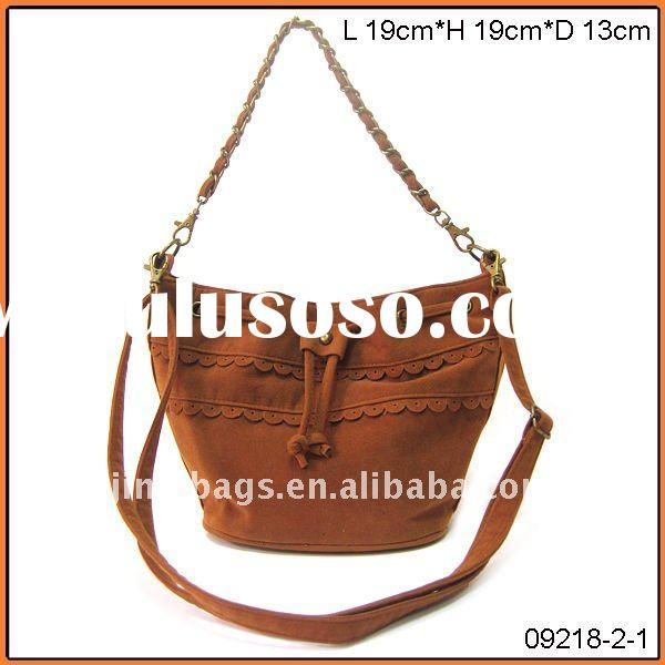 Yiwu China 2011 brown color fashion suede lady hand bag