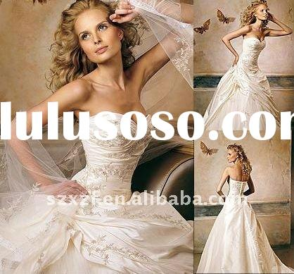 fashion organza embroidery strapless wedding gown dress