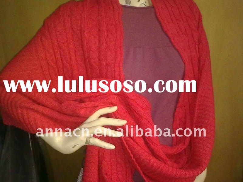 red cable knitted winter shawl
