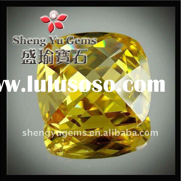 round double checkerboard,square-shaped,dark golden yellow cz /cubic zirconia, gemstone
