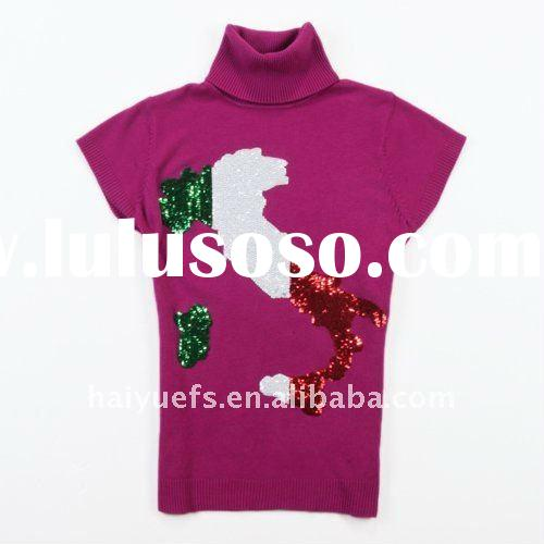 2011 Fashion ladies & women sweater with beadings and print design