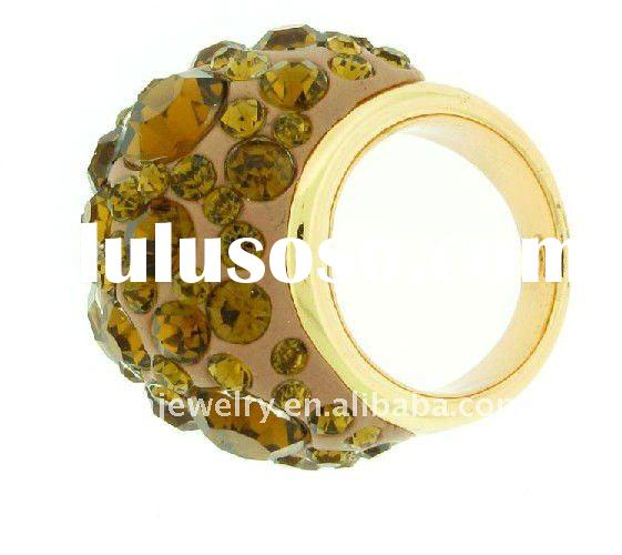 2012 hot sell popular style stylish GP gold plated yellow crystal ball stretch alloy ring