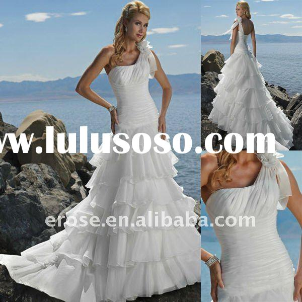 One-Shoulder Cascading Ruffle Skirt Wedding Dress MG-009