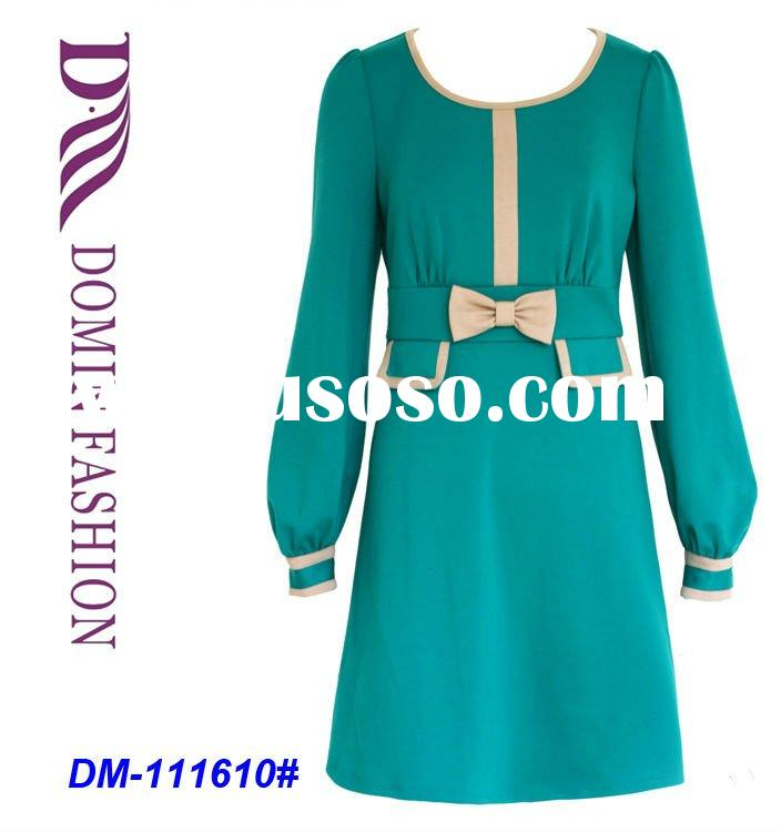 Vintage Inspired Long Sleeve Lycra Knitted Jersey Dress,Shift Dress with a Bow Tie  for 2012 Spring,