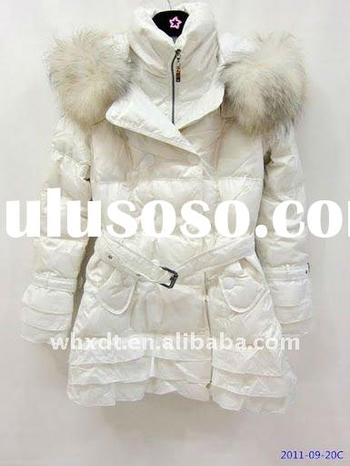 ladies feather down winter coats white