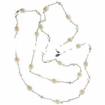 Fashion Pearl Necklace, Casual Pearls CZ Beads 925 Sterling Silver Necklace 42""
