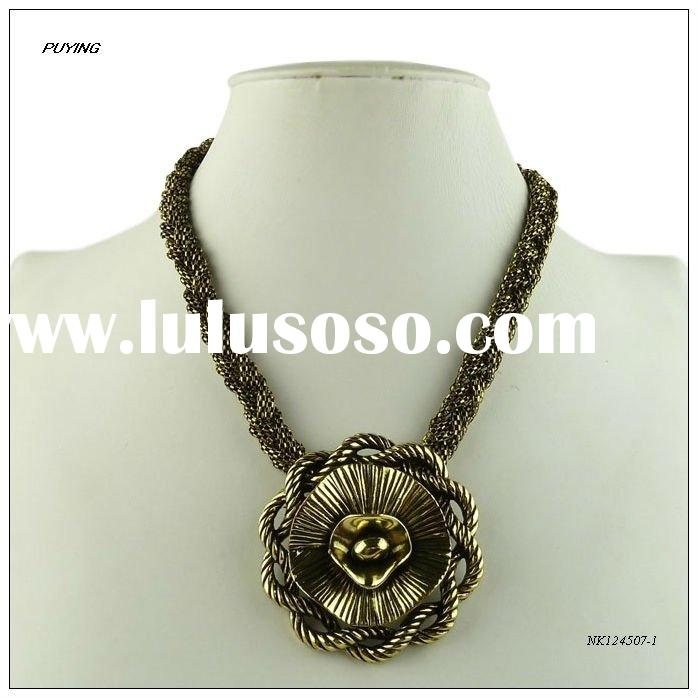 High End Gold Alloy Necklace, Fine Metal Imitation Jewelry