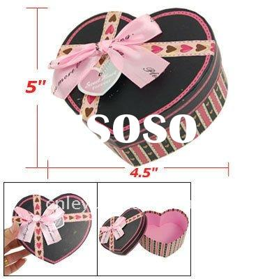 Ribbon Bow Paper Blk Pink Heart Packaging Gift Box Case