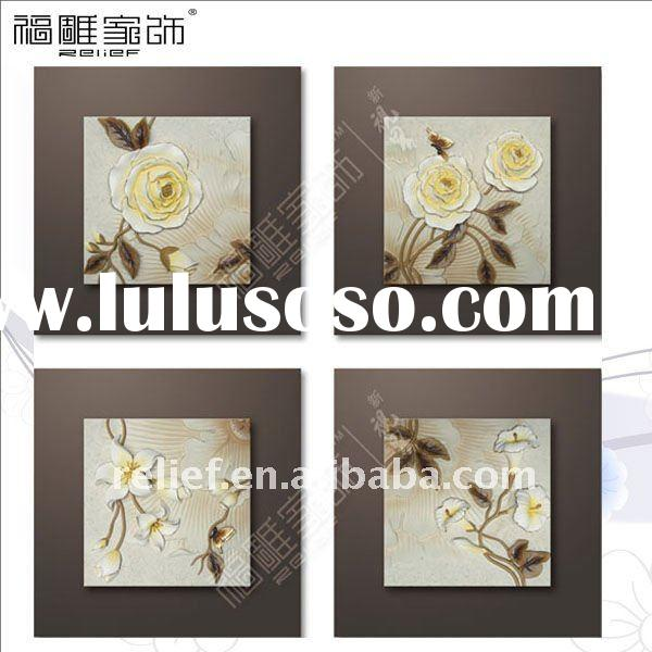 flower loves butterfly relief painting for interior decor, landscape 3D paintings,40X40cmx4pcs