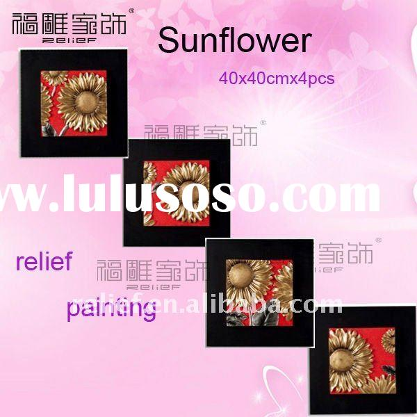 group red sunflower relief painting, flower painting,3d canvas art,40X40cmx4pcs