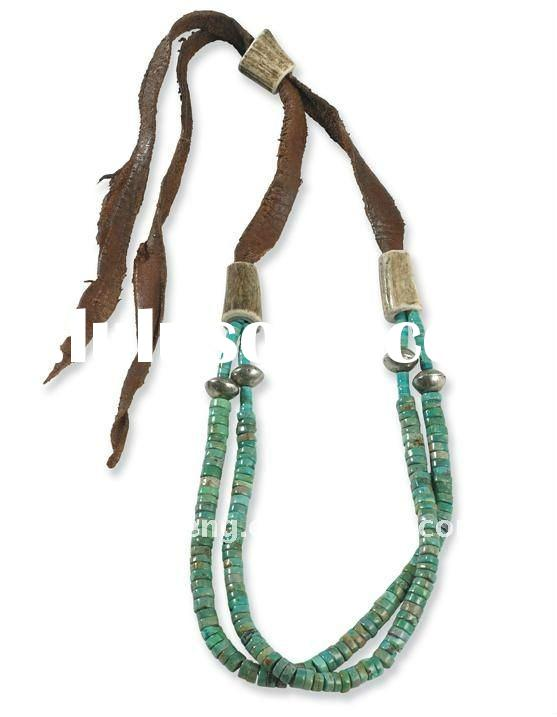 latest design leather&turquoise beads necklace