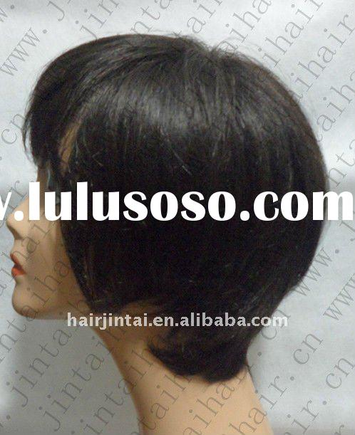 chinese hair 100% human hair black short straight lace front wig