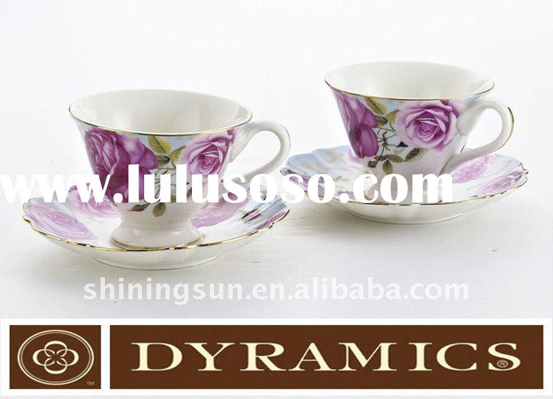 """6"""" Porcelain with purple decal cup & saucer"""