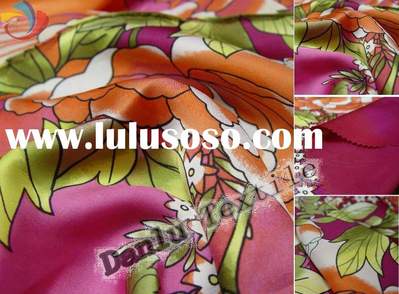 Flower Printed Satin Fabric