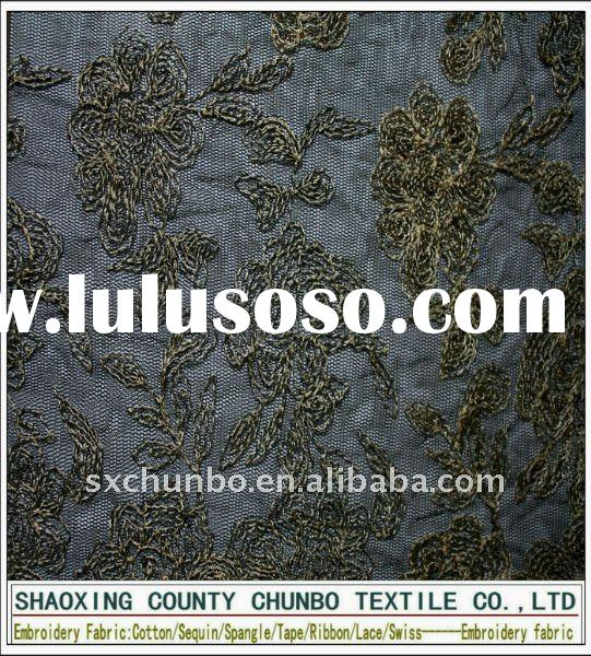 polyester mesh and gold yarn swiss lace embroidery fabric for garment