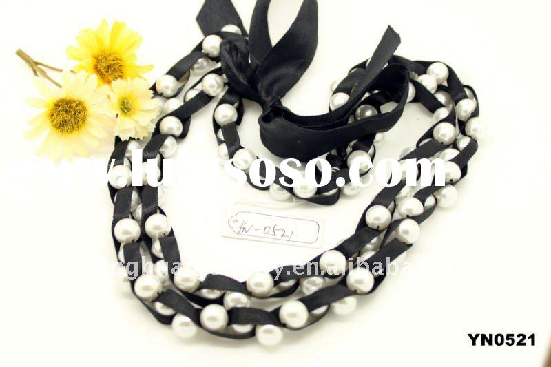2011 hot  fashion jewelry - black rope pearl necklace