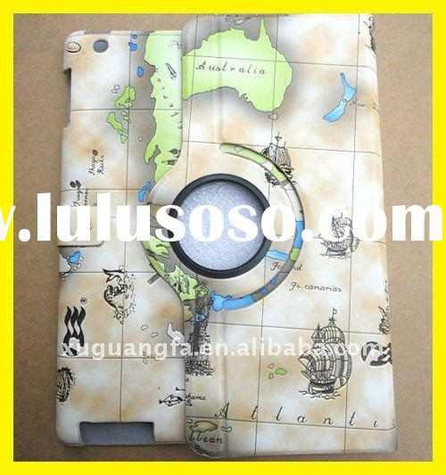 Magnetic Smart Cover Leather Case Rotating Stand for iPad 2 Earth