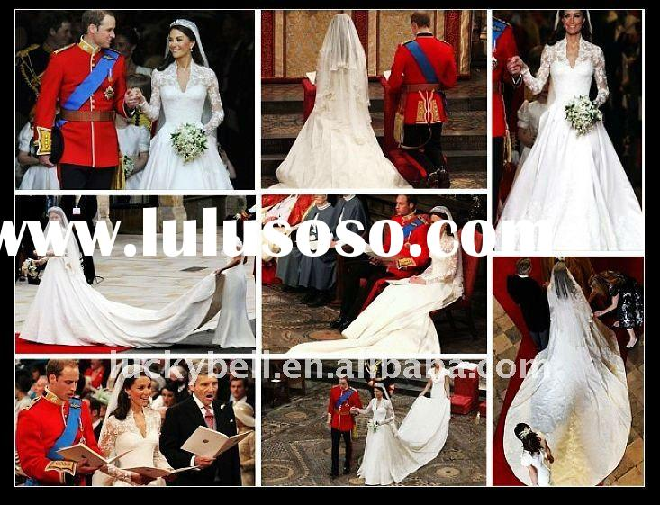 Free shipping New Long Sleeve Semi-Cathedral Kate's Wedding dress WD1006