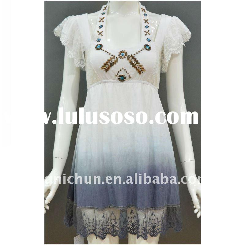 beaded halter dip died white dress with lace in hem