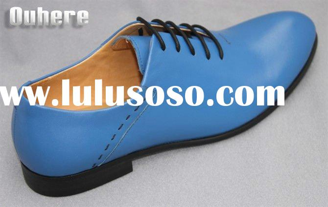 2011 blue dress shoes sharp toe  men's genuine business shoes