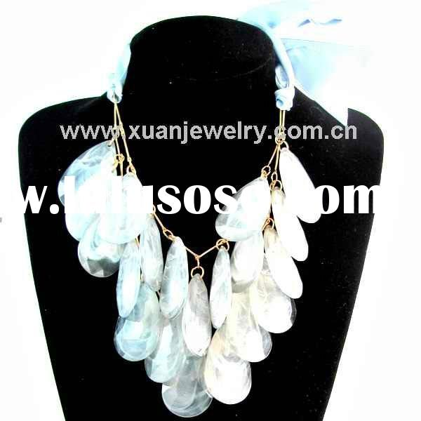 NEW! fashion two rows design acrylic beads chain necklace