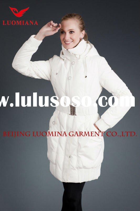 Sell Women`s Long Down Jackets in PU Leather with Factory Price