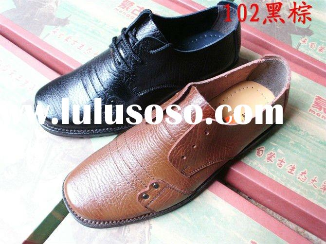 lace-up casual square toe genuine leather man shoes
