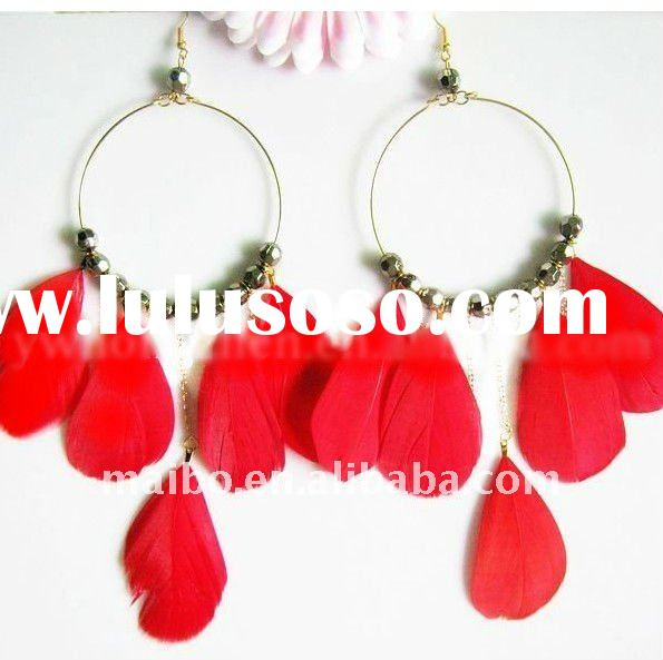 2011 New fashion 100%Natural Feather Earrings