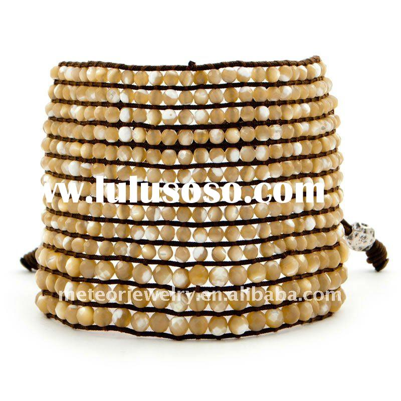 Natural Mother of Pearl Cuff Bracelet on Brown Nylon Cord