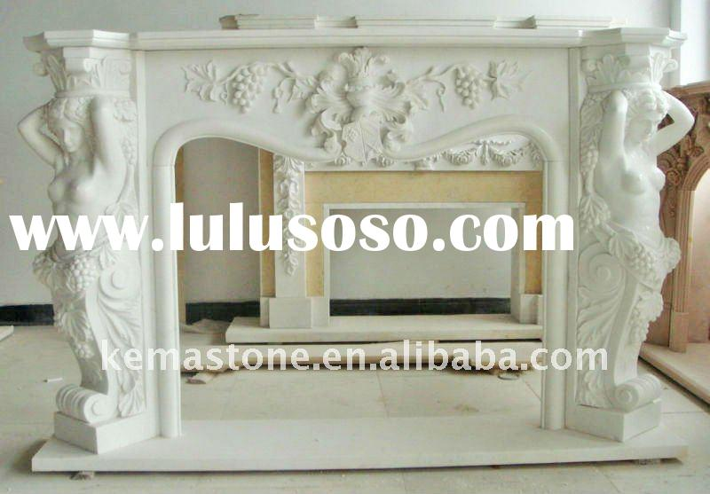 Victorian White Marble Fireplace Mantel Surround