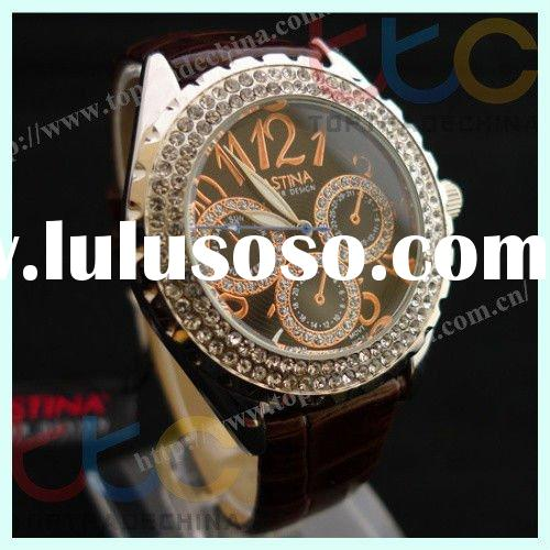 Wholesale 2011 Classic Women's Rhinestone-accented quartz watches japan movt WristWatch fash