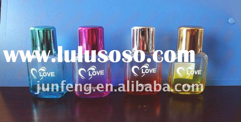 perfume glass bottle with shiny plastic  cap and sprayer 100ml