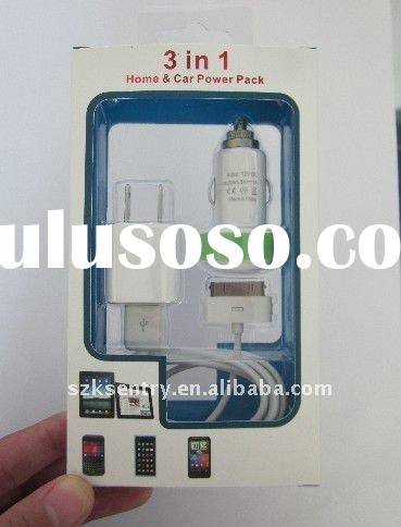 5V 1000mA Mobile phone charger kit, 3in1 Home&Car Power pack for iPhone 4