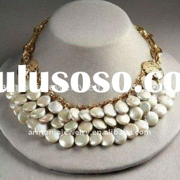 Best Christmas Jewelry! Free Shipping! 2012 Trend Gold Chain Freshwater Pearl Necklace