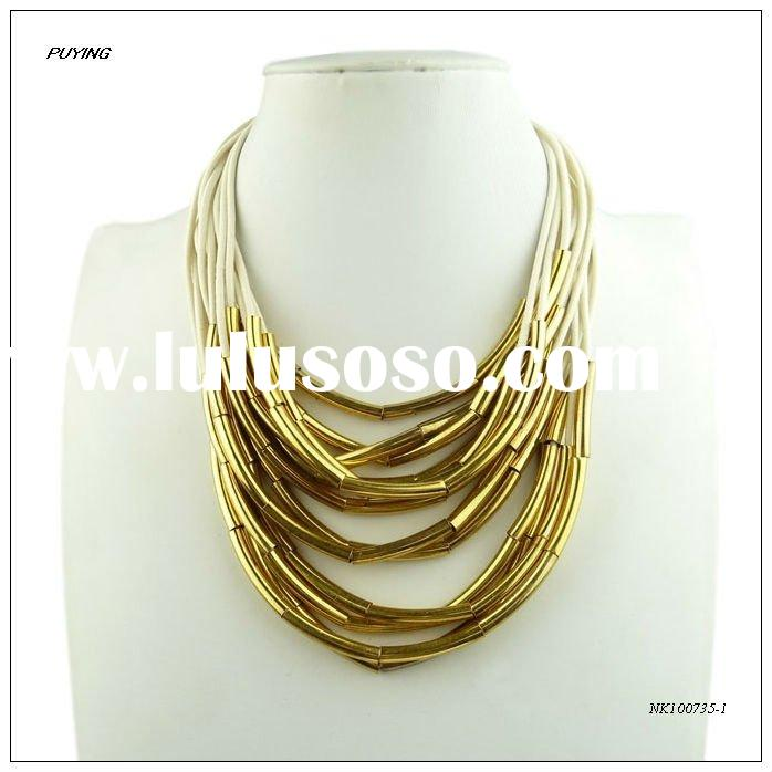 Fashion Cheap Women Multi-strand Zinc Alloy Costume Necklace, Fashion Imitation jewellery