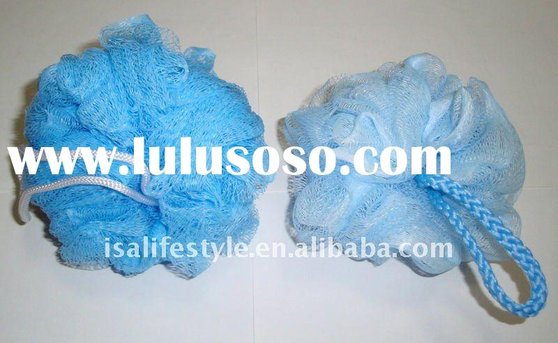 Lohas nylon bath scrubber with a PP hanging loop #SBS012