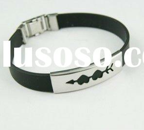 2011 lady's fashion stainless steel silicon bracelet