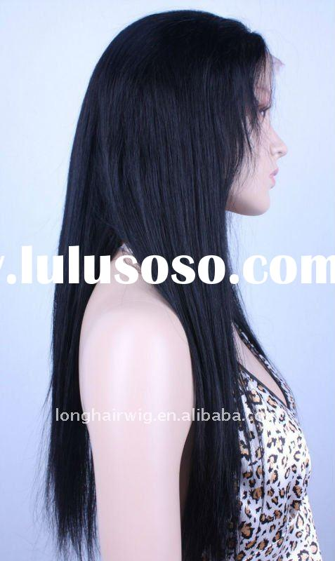 Ladies' favourite jet black color light yaki straight lace wig
